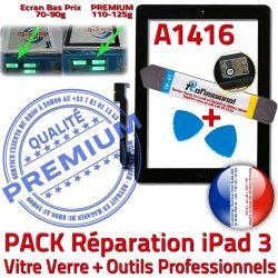 PACK HOME iPad3 Vitre 3 Bouton Tactile PREMIUM Réparation Noire Precollé Adhésif Outils Verre Qualité Oléophobe Démontage N KIT iPad A1416