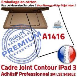 Noir Autocollant iPad Ecran Vitre Plastique Cadre 3 A1416 Contour Precollé Joint Réparation Tablette Châssis N Tactile Apple Adhésif