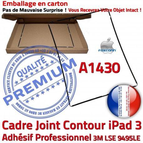 Joint Plastique iPad 3 A1430 N Apple Tablette Réparation Ecran Cadre Châssis Contour Adhésif Precollé Tactile Noir Vitre Autocollant