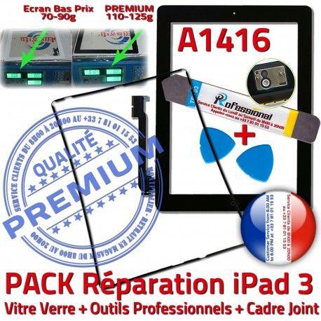 PACK iPad 3 A1416 iLAME Joint N Vitre Chassis Cadre KIT Outils Tablette Tactile HOME Adhésif Noire Verre Apple Bouton iPad3 Réparation Precollé