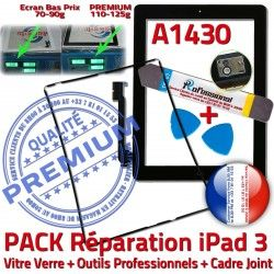 HOME Vitre Outils Réparation Chassis PACK Tablette Cadre Verre A1430 Precollé Joint iPad Bouton N iLAME Adhésif Apple iPad3 Noire KIT 3 Tactile