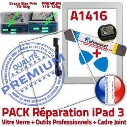 3 Joint Réparation Vitre Verre B Bouton PREMIUM Outils iPad iLAME Blanche Tablette Tactile iPad3 Adhésif Cadre HOME PACK Precollé A1416 Apple