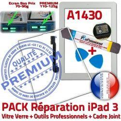 Apple Blanche iPad iPad3 3 Bouton Adhésif Tablette A1430 Cadre Joint Outils HOME iLAME Vitre B Tactile PACK PREMIUM Verre Precollé Réparation