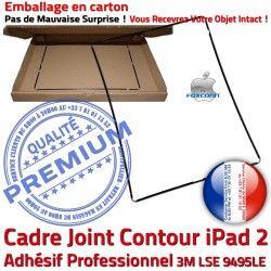 Autocollant Cadre iPad Châssis ABS Ecran Vitre Contour Joint N Apple Adhésif Tactile Precollé Noir Réparation Tablette 2 Plastique