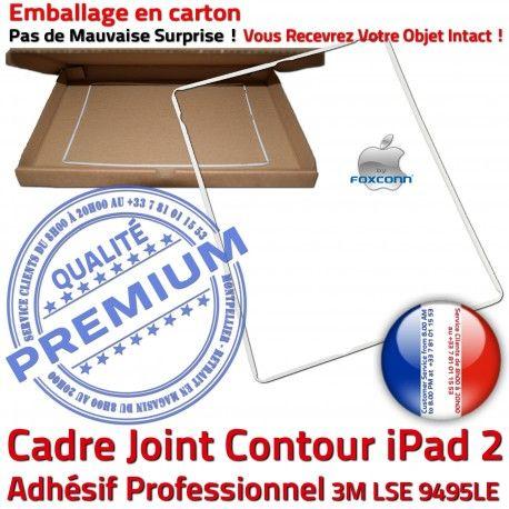 Joint Plastique iPad 2 B Blanc Adhésif Vitre Autocollant Apple Precollé Tablette Cadre Contour Tactile ABS iPad2 Ecran Châssis Réparation