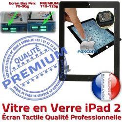 Vitre iPad2 HOME Adhésif Bouton PREMIUM Tactile 2 Qualité Remplacement A1395 Oléophobe Caméra A1397 Nappe PN Apple iPad A1396 Precollé Verre Fixation Ecran Noir