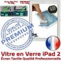 iPad2 Apple A1395 A1396 A1397 PB Oléophobe Fixation Bouton Adhésif iPad HOME Remplacement Nappe Verre Tactile PREMIUM Caméra Qualité Vitre Ecran Blanc Precollé 2