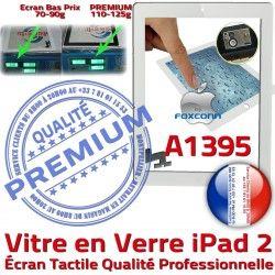 Blanc A1395 Oléophobe Qualité HOME Caméra Verre Remplacement Apple iPad2 Adhésif Fixation Tactile Bouton PREMIUM Precollé 2 Vitre iPad Ecran