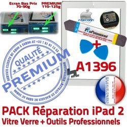 HOME Bouton 2 A1396 Tactile Démontage iPad Adhésif Precollé Verre KIT B iPad2 PREMIUM Outils Réparation Oléophobe Qualité PACK Blanche Vitre