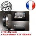 Sony SEL1855 Cokin Accumulateur + Objectif f/3.5-5.6 Filtre 18mm-55mm UV ORIGINAL 49mm Stabilisateur 7.2V Optique 1020mAh MC