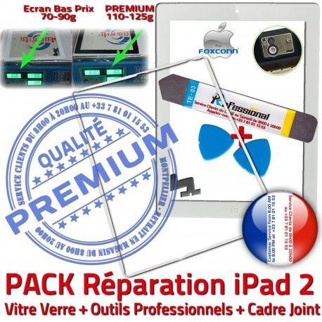 PACK iPad2 iLAME Joint B HOME Blanche Tactile Outils Tablette Apple Verre Adhésif Precollé Réparation Bouton Chassis Cadre Vitre PREMIUM