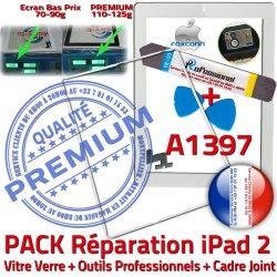 2 iLAME Apple Bouton HOME Cadre Adhésif Réparation PACK Joint B Vitre iPad Precollé PREMIUM Tablette iPad2 A1397 Outils Verre Tactile Blanche