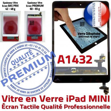 iPad Mini1 A1432 Noir Filtre Verre Réparation Tablette Adhésif Monté Vitre Home Fixation Oléophobe Bouton Tactile Caméra Nappe Ecran