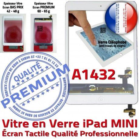 iPad Mini1 A1432 Blanc Filtre Adhésif Réparation Nappe Oléophobe Vitre Home Caméra Tablette Tactile Bouton Monté Verre Ecran Fixation
