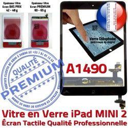 Ecran Filtre Tactile Noir iPad A1490 Adhésif Bouton Monté Caméra Vitre Fixation Tablette Nappe Réparation Home Verre Oléophobe Mini2