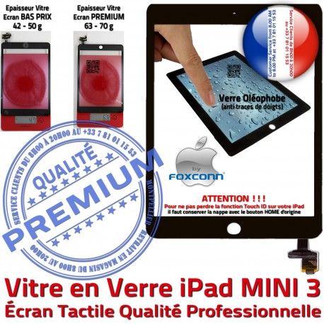 Mini3 iPad A1599 A1600 Noir Verre 3 Caméra Tablette Vitre Nappe Ecran Oléophobe Monté MINI Home Bouton Filtre Tactile Réparation Fixation Adhésif