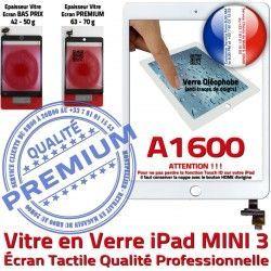Verre Home Adhésif iPad Tablette A1600 Tactile Nappe Vitre Caméra Mini3 Monté Oléophobe Blanc Ecran Réparation Bouton Fixation Filtre