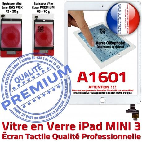 Mini3 iPad A1601 Blanc Vitre Fixation Home Bouton Nappe Caméra Verre Filtre Monté Réparation Tactile Ecran Adhésif Tablette Oléophobe
