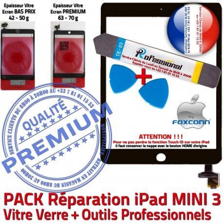 PACK iPad Mini A1599 A1600 N Precollé Touch Attention ID KIT Qualité MINI3 PREMIUM Tactile Tablette Réparation Démontage Outil Noire Verre Adhésif Vitre