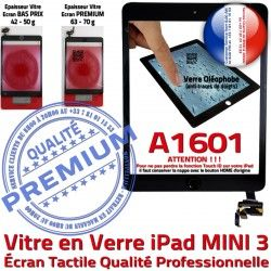 Tactile Tablette Oléophobe Vitre PREMIUM Réparation Adhésif Ecran Mini3 Filtre Bouton Caméra iPad A1601 Noir Verre Nappe Fixation