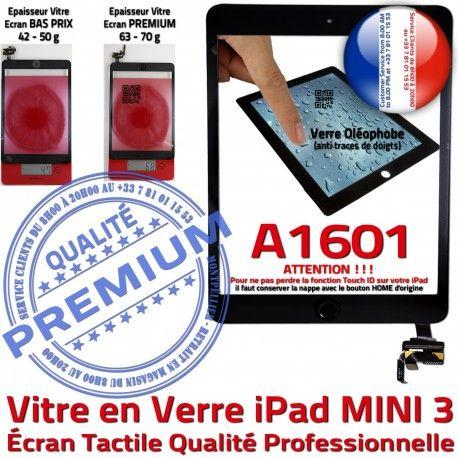 iPad Mini3 A1601 Noir PREMIUM Bouton Fixation Ecran Tablette Tactile Réparation Filtre Oléophobe Adhésif Vitre Verre Caméra Nappe