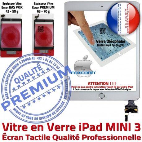 iPad Mini3 A1599 A1600 Blanc Fixation 3 Ecran Oléophobe Monté Verre Réparation Bouton Filtre Tablette MINI Home Vitre Tactile Nappe Adhésif Caméra