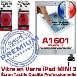 Fixation A1601 Ecran iPad Verre Blanc PREMIUM Tactile Bouton Mini3 Adhésif Nappe Tablette Filtre Réparation Caméra Vitre Oléophobe