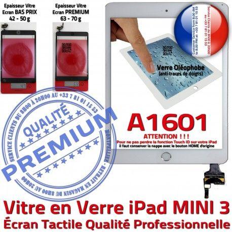 iPad Mini3 A1601 Blanc PREMIUM Filtre Tablette Fixation Bouton Réparation Tactile Verre Vitre Ecran Oléophobe Nappe Adhésif Caméra