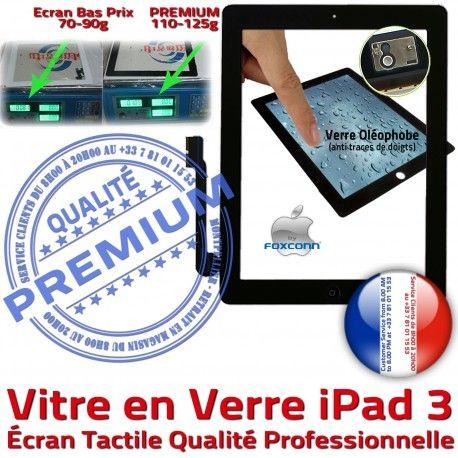 iPad3 Apple A1403 A1416 A1430 PN PREMIUM Ecran Nappe Qualité HOME 3 Verre iPad Vitre Oléophobe Caméra Tactile Remplacement Precollé Fixation Adhésif Bouton Noir