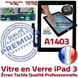 iPad Apple Remplacement A1403 Precollé Bouton Adhésif iPad3 Oléophobe Qualité HOME Vitre PREMIUM Fixation Tactile Ecran Verre 3 Caméra Noir