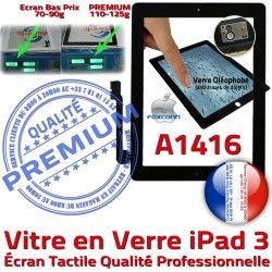 A1416 Remplacement iPad 3 HOME Qualité Precollé Oléophobe Apple Fixation iPad3 Vitre Caméra Tactile Verre PREMIUM Noir Adhésif Ecran Bouton