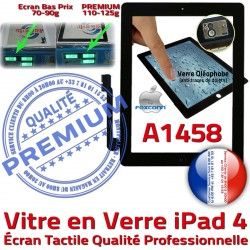 Adhésif iPad4 Fixation Remplacement Vitre Bouton PREMIUM iPad Qualité Tactile Oléophobe 4 Verre Precollé Apple HOME A1458 Noir Ecran Caméra