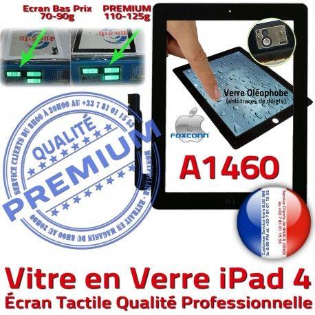 iPad4 Apple A1460 Noir Oléophobe PREMIUM Precollé Qualité Verre Vitre Bouton 4 Tactile Caméra Remplacement Adhésif iPad HOME Ecran Fixation