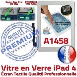 PREMIUM Qualité HOME Oléophobe Fixation Apple Verre Caméra Precollé iPad Bouton A1458 Ecran 4 Adhésif Remplacement iPad4 Blanc Tactile Vitre