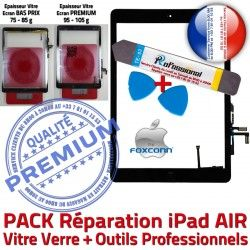 Vitre Precollé PREMIUM KIT 5 Oléophobe N Réparation Tactile Démontage PACK Bouton HOME Qualité AIR Adhésif Noire Verre iPad Nappe Outil