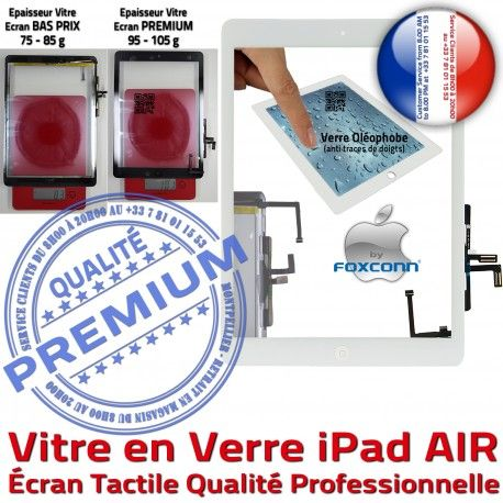 iPadAIR A1474 A1475 A1476 Blanc Remplacement Adhésif Oléophobe Qualité Tactile Verre Vitre PREMIUM Bouton iPad HOME Fixation AIR Caméra Ecran Precollé A++