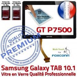 Assemblée Tactile en GT-P7500 Ecran Noire Vitre TAB Samsung Adhésif Qualité P7500 GT 10.1 Verre LCD N Supérieure Galaxy 10 PREMIUM Prémonté