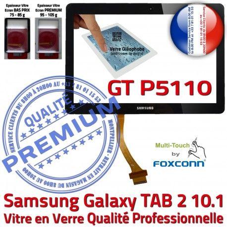 Samsung Galaxy TAB 2 GT-P5110 N Vitre Ecran TAB2 Verre LCD Adhésif 10.1 Assemblée Prémonté Noire Tactile PREMIUM GT P5110 en Qualité Supérieure