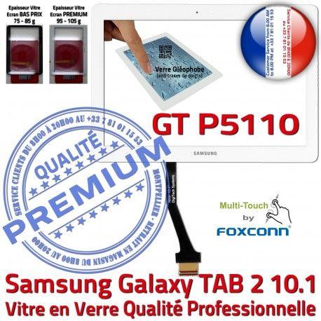 Samsung Galaxy TAB 2 GT-P5110 B Qualité Assemblée TAB2 10.1 Verre Vitre Supérieure GT Blanche Adhésif PREMIUM P5110 LCD Tactile Prémonté en Ecran