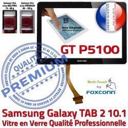 Supérieure TAB2 2 LCD P5100 Assemblée Tactile N 10.1 GT-P5100 TAB Noire Vitre Adhésif Galaxy en Qualité GT Prémonté Verre PREMIUM Samsung Ecran