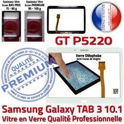 B Prémonté Samsung Adhésif TAB3 PREMIUM Ecran LCD Vitre en Blanche Verre 10.1 Supérieure Assemblée Tactile Qualité Galaxy Tab3 GT-P5220