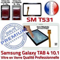 B SM-T531 Prémonté TAB Tactile TAB4 Samsung 10.1 SM en Vitre Verre PREMIUM Supérieure T531 Qualité Blanche LCD Assemblée Galaxy Adhésif Ecran 4