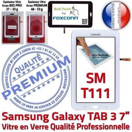 SM-T111 LITE Tab3 Blanc Supérieure Samsung Adhésif en SM LCD Prémonté Blanche Assemblée Qualité T111 Vitre Ecran PREMIUM Galaxy Tactile Verre TAB3