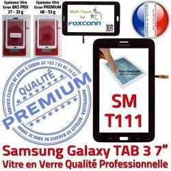 SM Adhésif Tactile LCD Galaxy T111 Noire en Prémonté Verre N Supérieure 7 Vitre TAB Assemblée Ecran Samsung PREMIUM SM-T111 3 Qualité TAB3