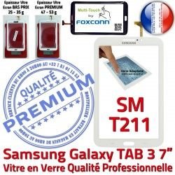 7 Prémonté LCD Blanche Tab3 SM-T211 TAB3 Supérieure Verre Tactile B Samsung Adhésif Assemblée en Vitre Ecran Galaxy PREMIUM Qualité