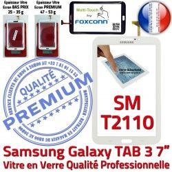 Blanche 3 Supérieure B T2110 Vitre TAB3 Samsung Tactile Galaxy Assemblée Qualité PREMIUM SM-T2110 Ecran SM Adhésif LCD en 7 TAB Prémonté Verre