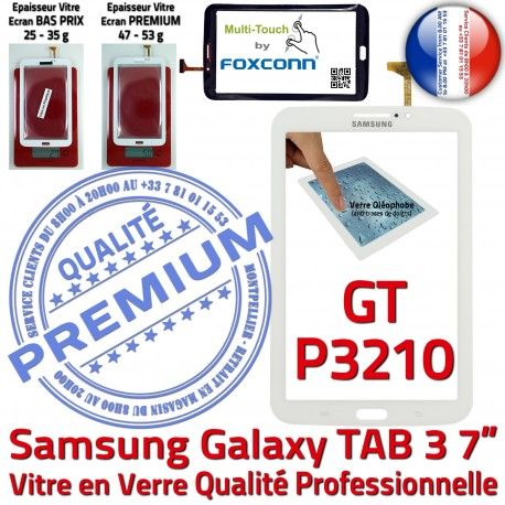 Samsung Galaxy TAB 3 GT-P3210 B TAB3 Adhésif Vitre LCD en Qualité Verre Supérieure P3210 Prémonté PREMIUM Blanche Tactile Ecran GT Assemblée 7
