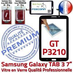 N Prémonté en GT-P3210 Qualité TAB3 Supérieure TAB GT Assemblée Vitre 3 LCD 7 Verre Galaxy Adhésif Ecran PREMIUM Noire Tactile P3210 Samsung
