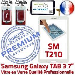 Vitre Tactile Samsung Ecran en Assemblée PREMIUM B Qualité 7 Prémonté Adhésif Supérieure Blanche TAB3 SM-T210 Tab3 Verre Galaxy LCD