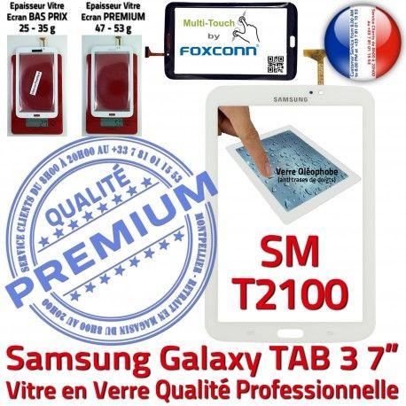 Samsung Galaxy TAB 3 SM-T2100 B en Verre Ecran 7 Assemblée Qualité Supérieure LCD Tactile T2100 TAB3 SM Prémonté Adhésif Blanche PREMIUM Vitre